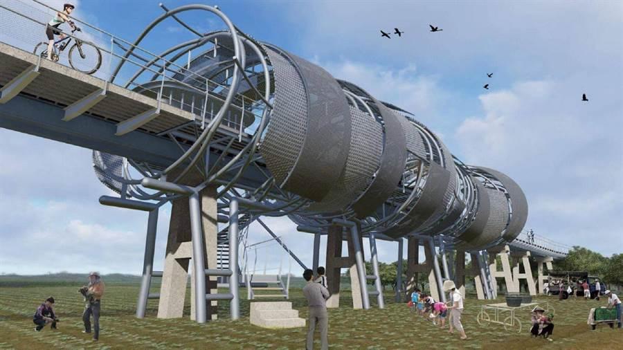 雲林縣北港鎮復興鐵橋修復後,可供民眾與自行車通行。(廖偉立建築師事務所提供/張朝欣雲林傳真)