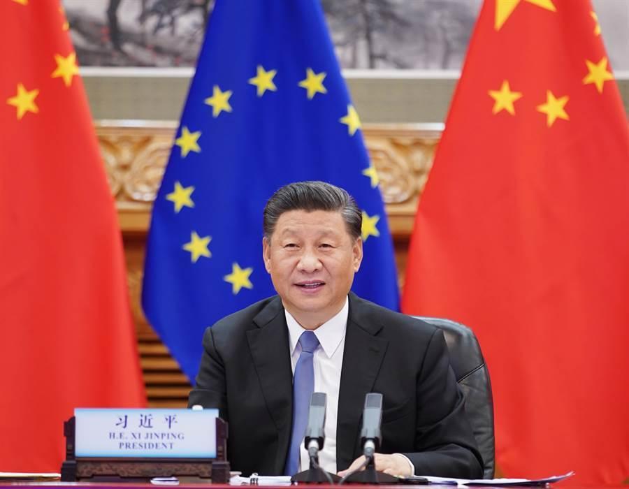 6月22日,大陸國家主席習近平在北京會見歐洲理事會主席米歇爾。 (新華社)