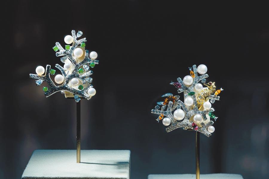 MIKIMOTO「The Eyes and Hands回溯技藝之美」珠寶展,展出藝術珠寶作品 。(MIKIMOTO提供)