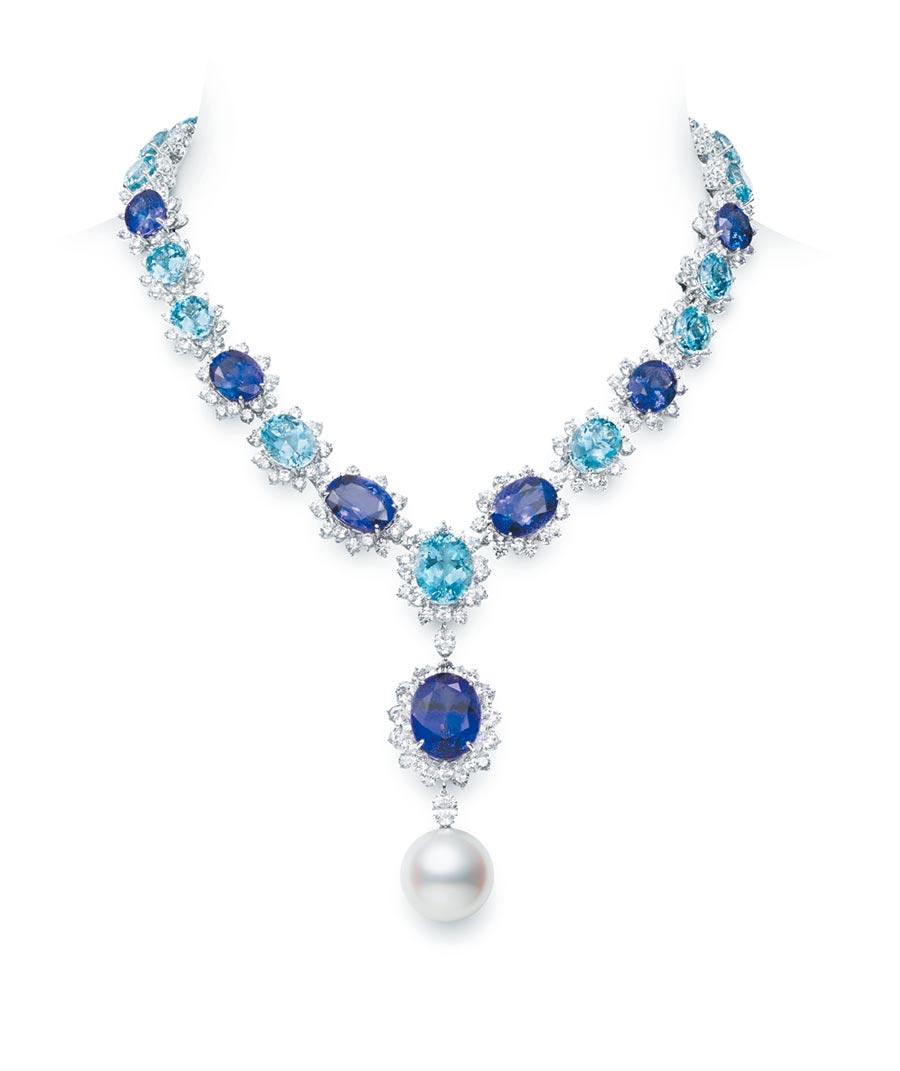 MIKIMOTO藍寶石、鑽石與珍珠項鍊 。(MIKIMOTO提供)