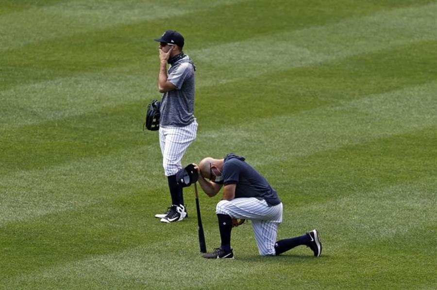 洋基投手田中將大挨強襲球,場上的隊友非常震驚。(美聯社)