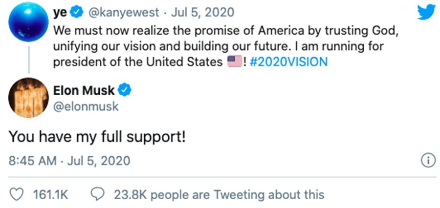 特斯拉创办人马斯克留言表示将会全力支持。(摘自推特)