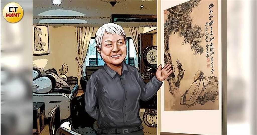 大哥許懷聰指控,小妹許碧珍「不告而取」他收藏的張大千名畫多年。(圖/本刊繪圖組)