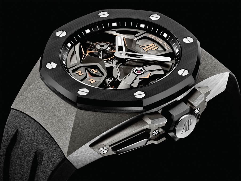 皇家橡樹概念系列 飛行陀飛輪雙時區腕錶。(圖/品牌提供)