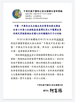 改名「台醫」去中國化?中醫師公會今發澄清聲明急滅火