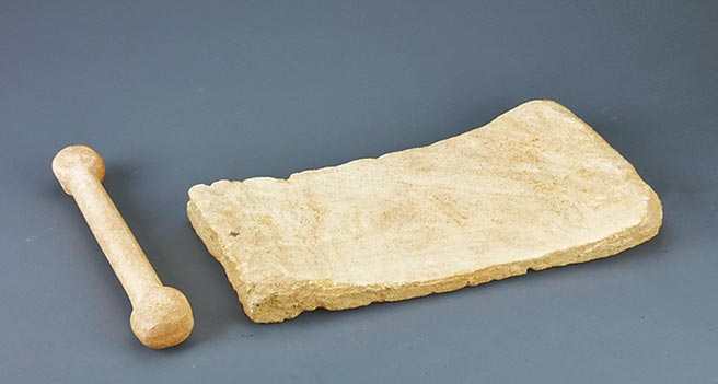 東胡林遺址出土的石磨盤和石磨杵。(取自首博官網)
