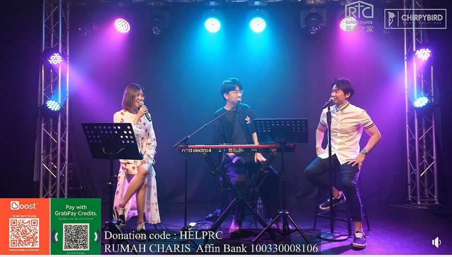 傅健颖(左起)、郭文翰与林健辉昨为公益募款合体献声。(翻摄Rumah Charis 恩惠之家脸书)