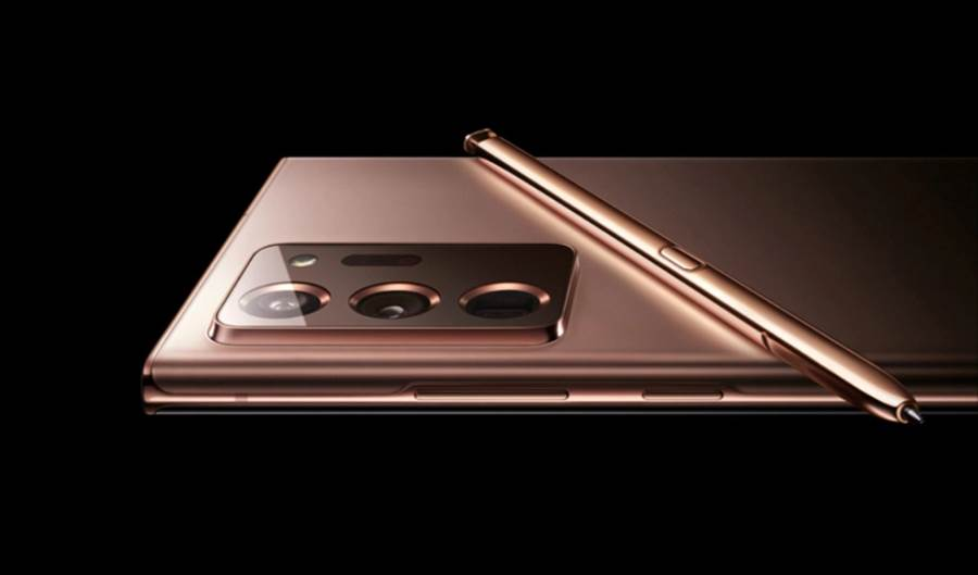 三星官網曝光的 Galaxy Note 20「mystic bronze」(神秘青銅色)款式。(摘自Twitter)