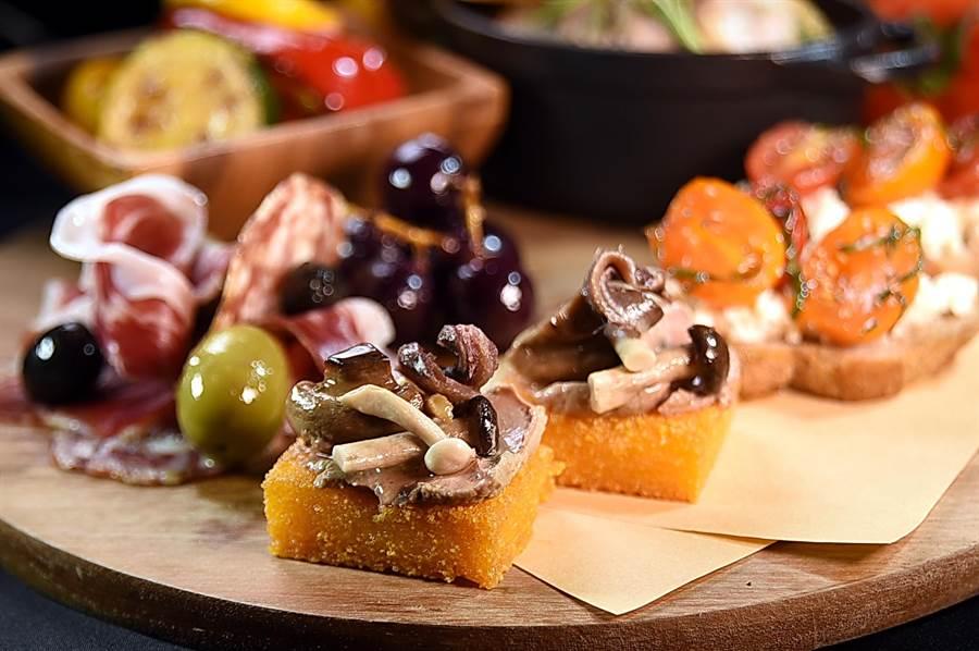 台北君悅〈Ziga Zaga〉推出「報復性菜單」,〈托斯卡尼綜合開胃集〉中的小點在坊間餐廳少見。(圖/姚舜)