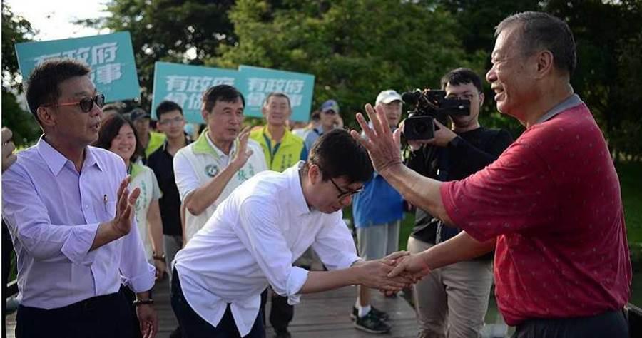 陳其邁今早走訪衛武營,暢談未來的施政計畫。(圖/陳其邁競選團隊提供)