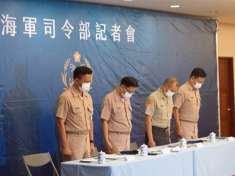 海军司令部下午举行登陆训练意外事件说明。吕昭隆摄。