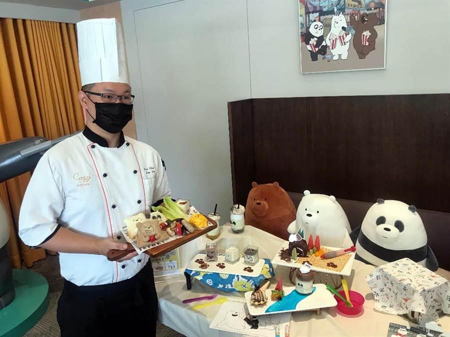 和逸飯店台南西門館推出「熊熊遇見你」午茶料理。(陳惠珍攝)