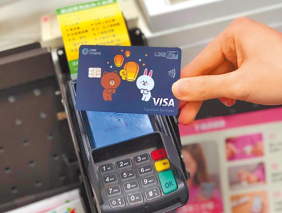 中國信託LINE Pay卡新卡面以熊大、兔兔為主角分別搭配珍珠奶茶、小籠包、鳳梨酥、天燈、路跑等元素共5款,展現在地特色。(中信提供)