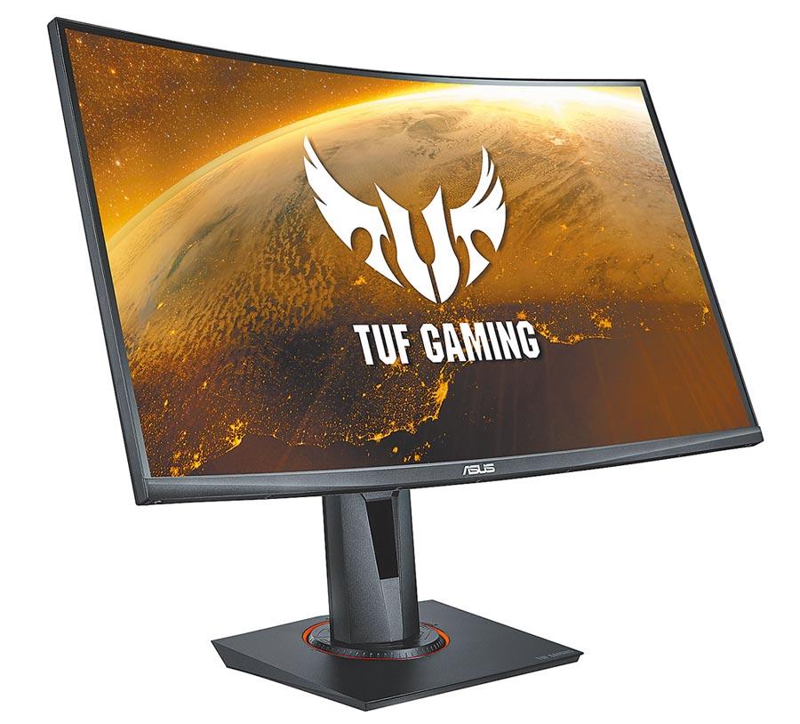 華碩的ASUS TUF Gaming VG27WQ為27吋WQHD 1500R HDR曲面電競螢幕,1萬1900元。(華碩提供)