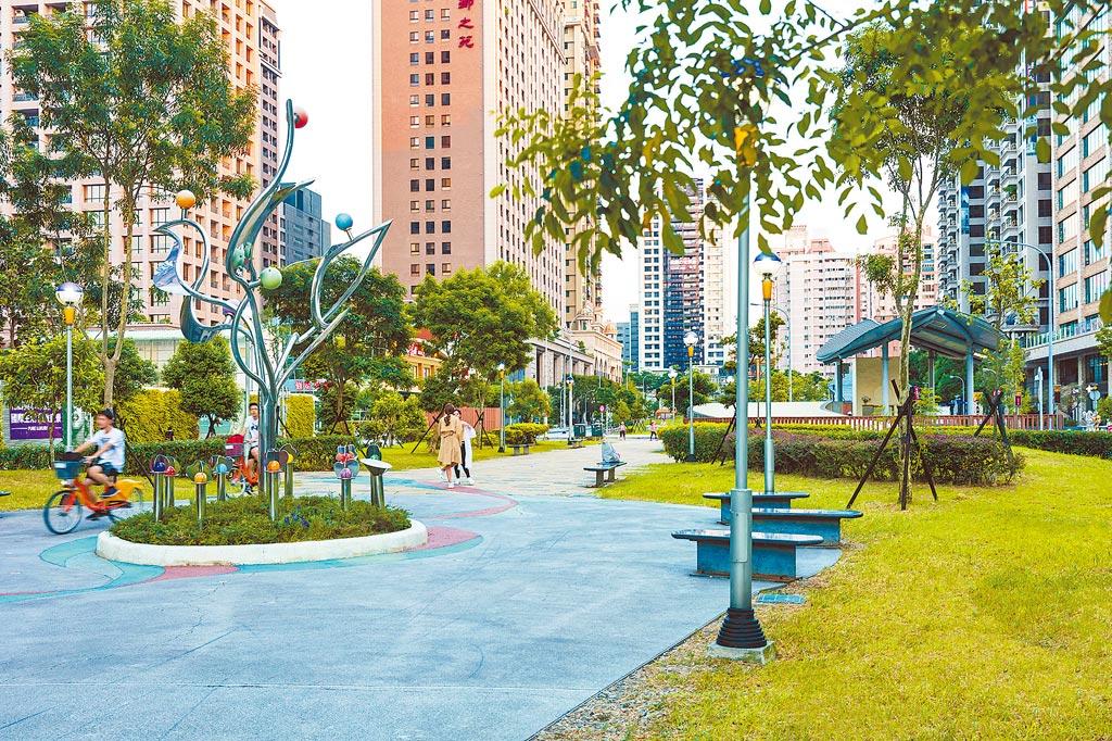 桃園豪宅的指標聚落中正藝文特區,獨有的綠園道景觀,有「小信義區」之稱。圖/業者提供