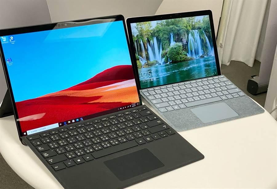 Surface Pro X(左)、Surface Go 2。(黃慧雯攝)