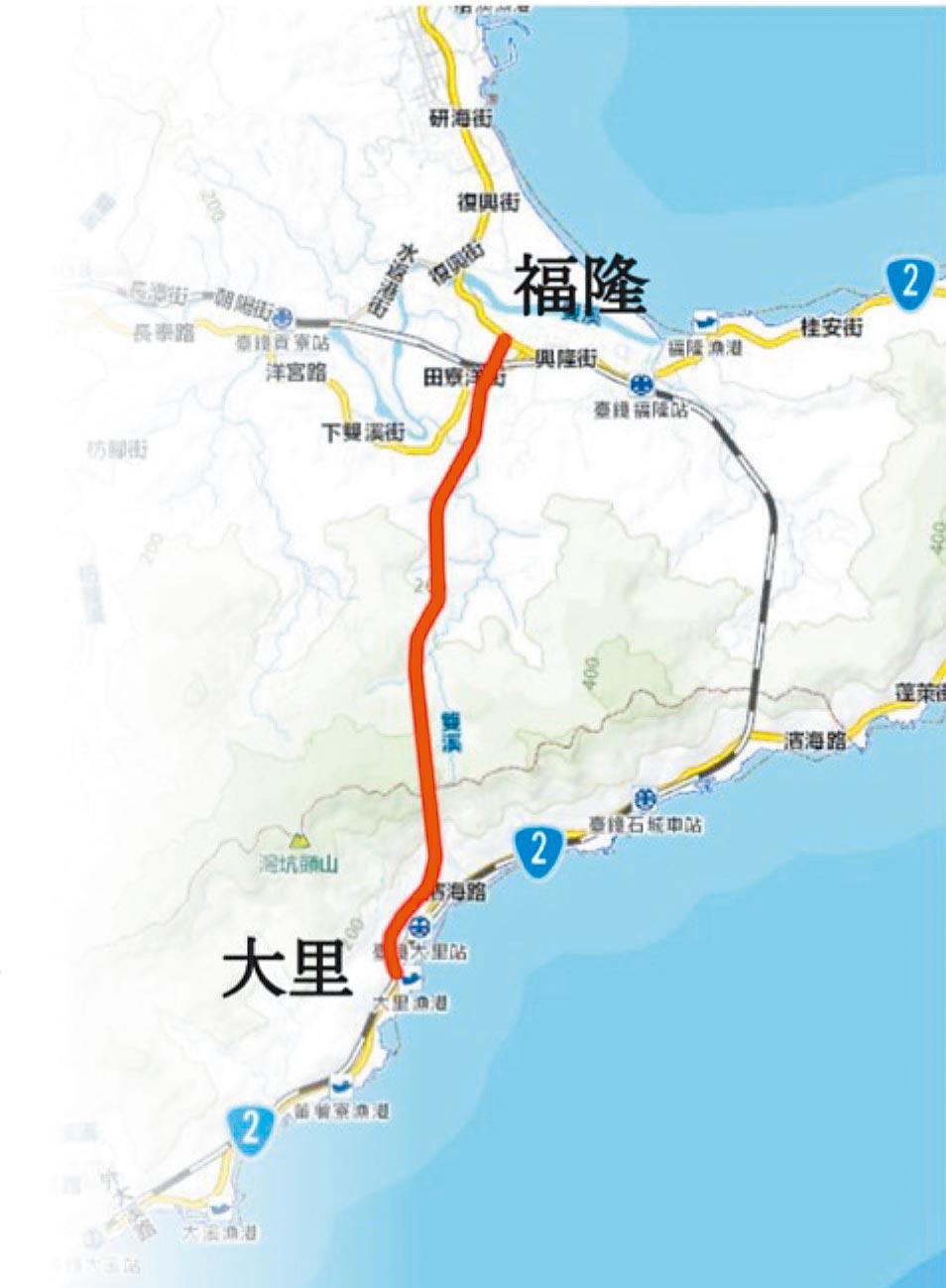 台2線福隆至大里段截彎取直計畫路線示意圖。(宜蘭縣政府提供/胡健森宜蘭傳真)