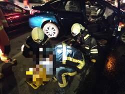 中壢普忠路地下車4車連環撞 車頭撞爛3人送醫