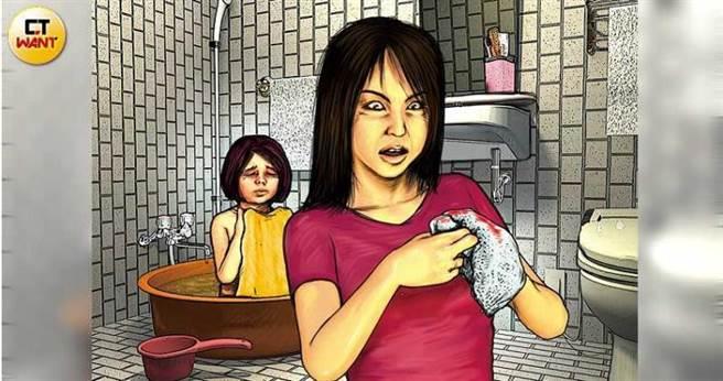 6月8日在家洗澡時,囡媽赫然發現浴缸裡的水有血色,才發現女兒囡囡下體受傷流血。(圖/本刊繪圖組)