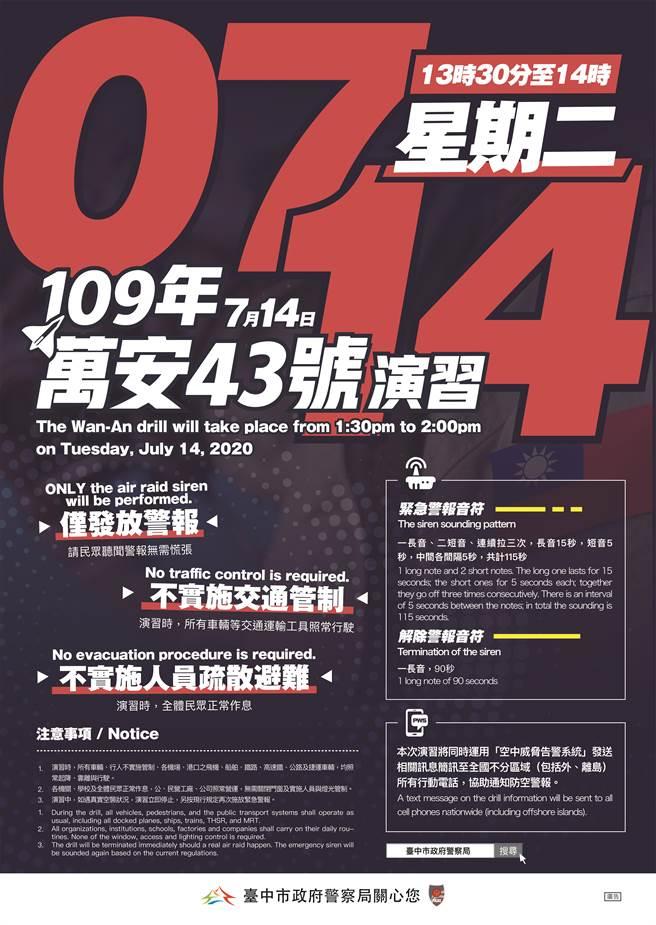 萬安43號演習將於14日13時30分至14時實施「防情傳遞」、「警報發放」等演練,不實施「人車管制」。(台中市警察局提供/張妍溱台中傳真)
