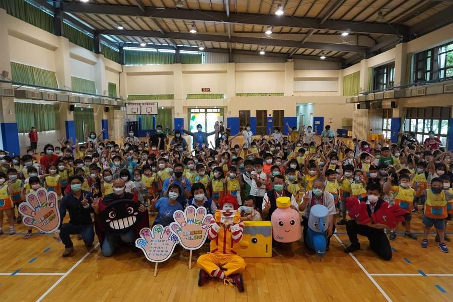 全國首場校園洗手巡迴宣導活動記者會於台中豐原南陽國小舉行。(台中市衛生局提供/王文吉台中傳真)