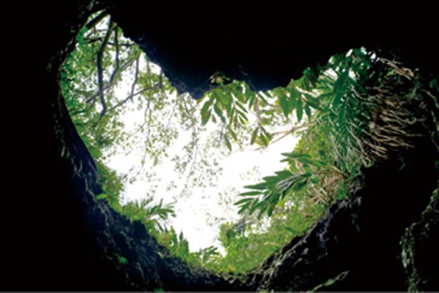 麻糬洞內上方還有一個海蝕愛心洞,非常別具特色。(圖/林建榮、編輯室、王景垣)