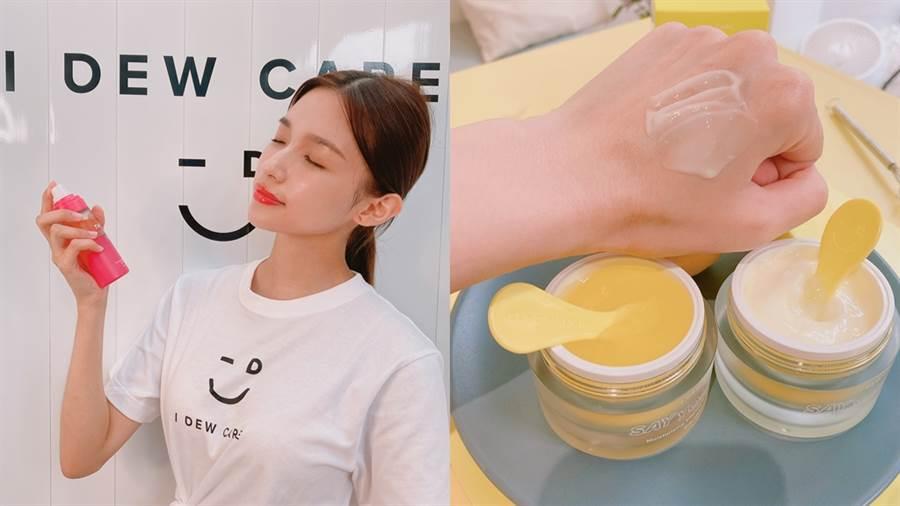紅橙C修護精萃水使用前要先搖晃,檸檬香蕉C雙效凝霜使用前要攪拌,讓保養成分均勻混合,多了動手步驟讓保養過程更有儀式感。(圖/邱映慈攝影)