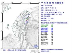 一小時連2震!12:12花蓮近海規模4.6地震 最大震度宜花3級