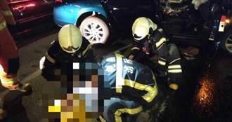 中壢普忠地下道4車連撞 7人受傷3送醫