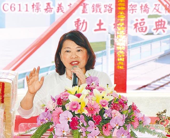 嘉義市長黃敏惠再次籲請中央兌現鐵高經費嘉義市零負擔的承諾。(廖素慧攝)