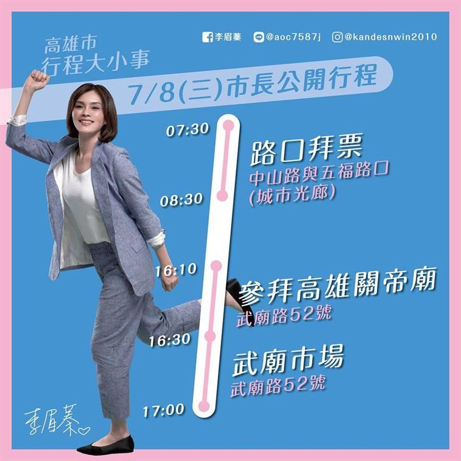 李眉蓁日前在臉書PO出「市長」公開行程。(圖/摘自李眉蓁臉書)