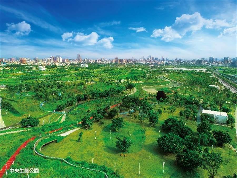 中央生態公園面積67公頃,開闊的空間竟有大安森林公園3倍大。/ 坤聯發西屯匯提供