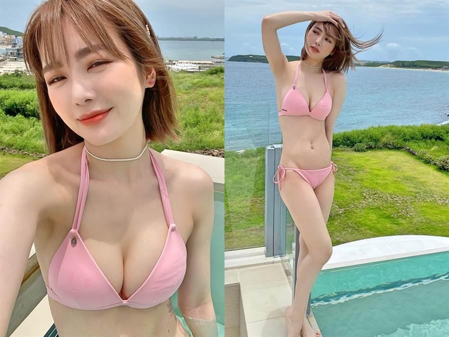 舒子晨穿上粉色比基尼展露好身材。(圖/FB@舒子晨)