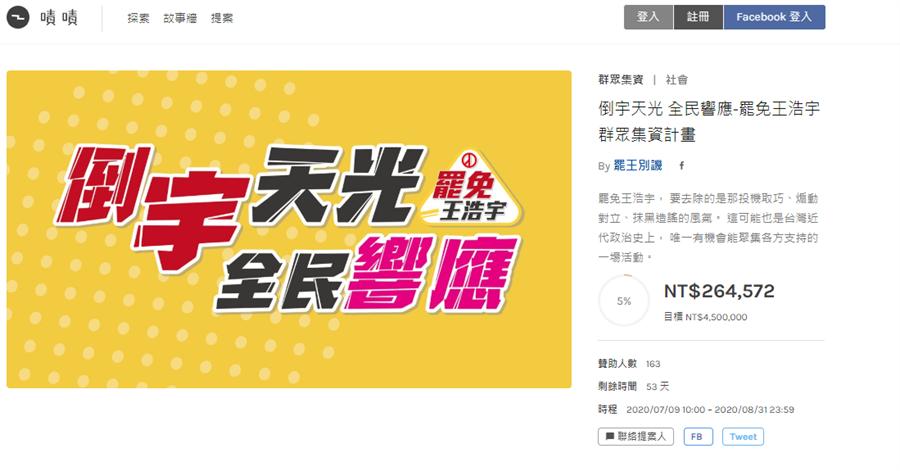 罷免王浩宇群募平台,上線不到1天,就已累積26萬多元。(圖/本報資料照)