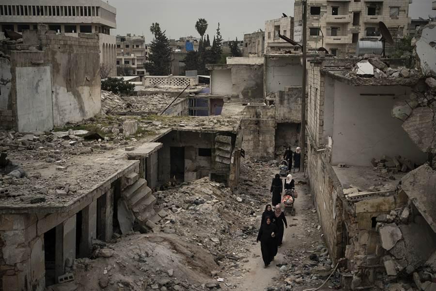 敘利亞内戰廢墟。(美聯社)
