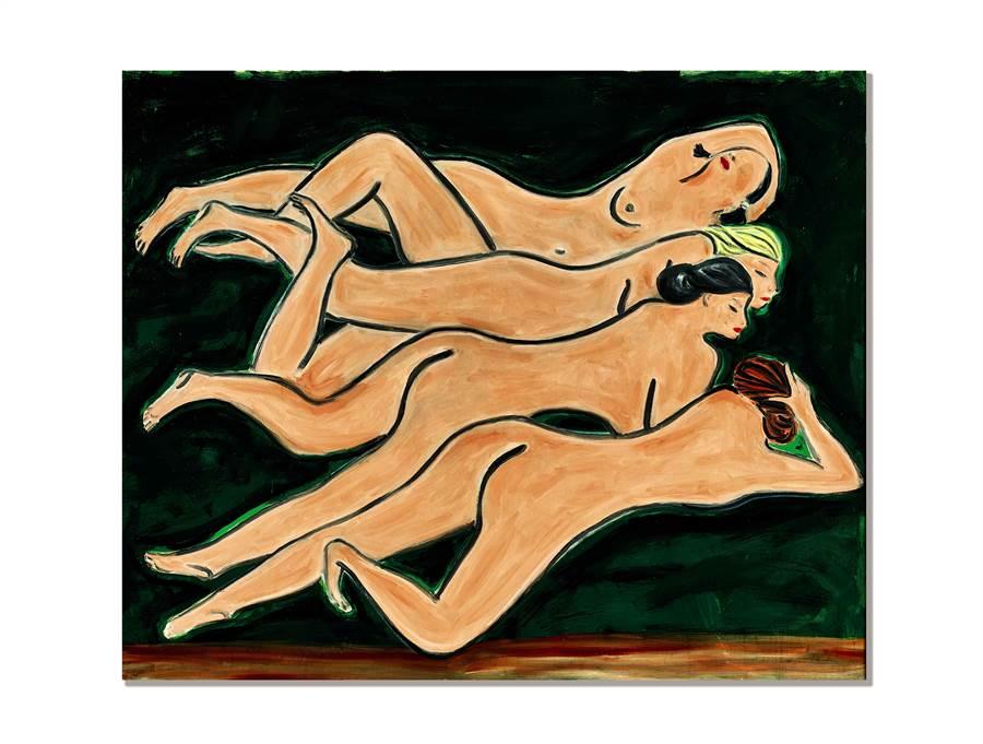常玉裸女群像《綠色背景四裸女》於香港蘇富比拍出約台幣10.32億高價。(香港蘇富比提供)