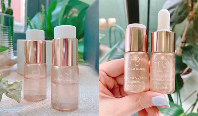 肌因極光白高純度酯C安瓶是粉狀、液狀雙劑型,使用前再將新鮮的維生素C粉下壓與修護精華均勻混合。(圖/邱映慈攝影)