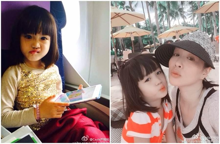 鍾麗緹女兒小時候模樣可愛。(取自考拉微博)