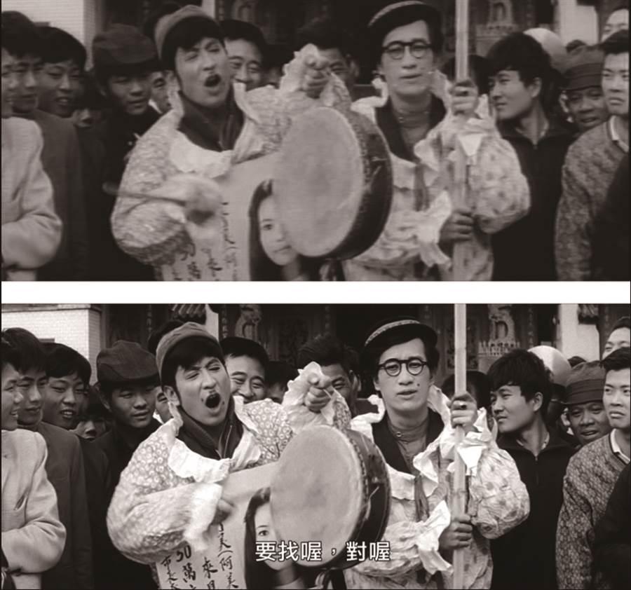 1969 年上映,由「寶島歌王」文夏編劇、主演、主唱的《再見台北》修復前後的對照,修復後的畫面(下)髒點減少,清晰度與亮度都有所提升。( 圖/國家電影及視聽文化中心)