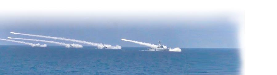 渤海海域,解放軍海軍某試訓區跟蹤測控武器試驗。(截圖自央視網)