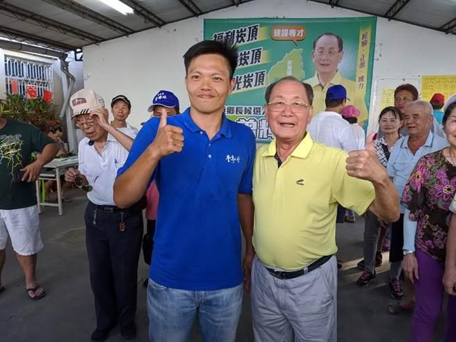 2020.07.11 屏東  ▲結果出爐後,民眾黨支持的廖國富(左)馬上前往曾輝地(右)競選總部,向他恭喜。(潘建志攝)