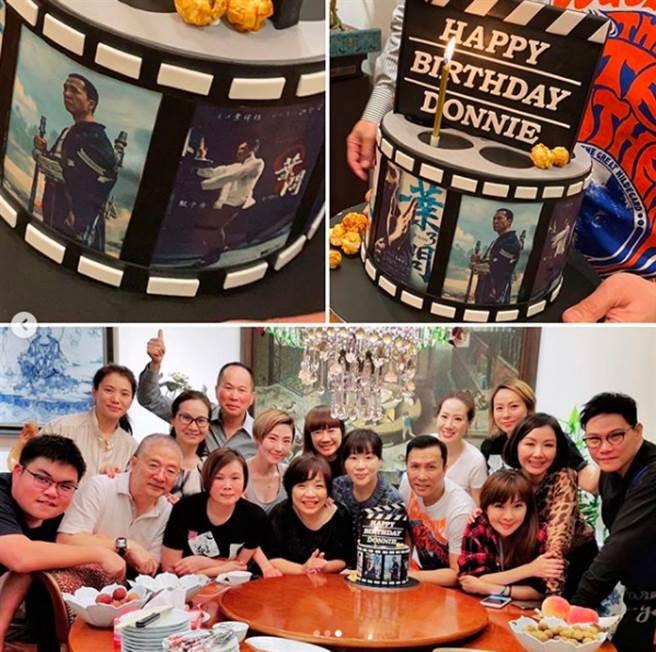 9日甄子丹在IG曬出特製的「電影蛋糕」和大合照,感謝好友們的祝福,卻意外惹來酸民嘲諷。(圖/ 摘自甄子丹IG)