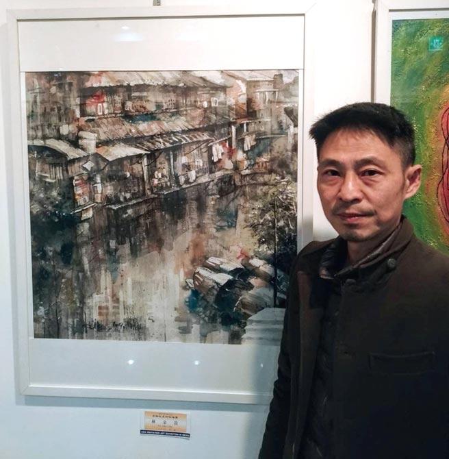 畫家林金龍今年再以彩墨作品「四季無痕」勇奪韓國第54回國際文化美術大展金獎殊榮。圖/許俊揚