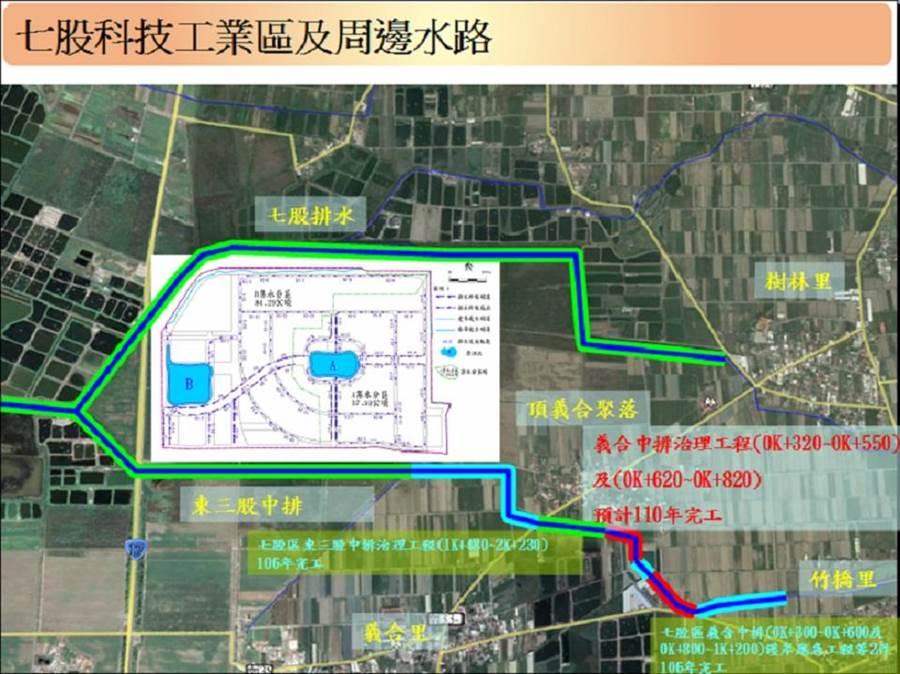 台南市七股科技工業區開發在即,市府投入3350萬元經費辦理「義合中排治理工程」。(台南市水利局提供/劉秀芬台南傳真)