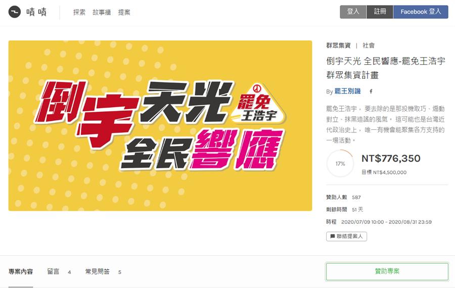 罷免王浩宇群募平台,上線2天天,就已累積77萬多元。(圖/翻攝自 罷免王浩宇群募平台)