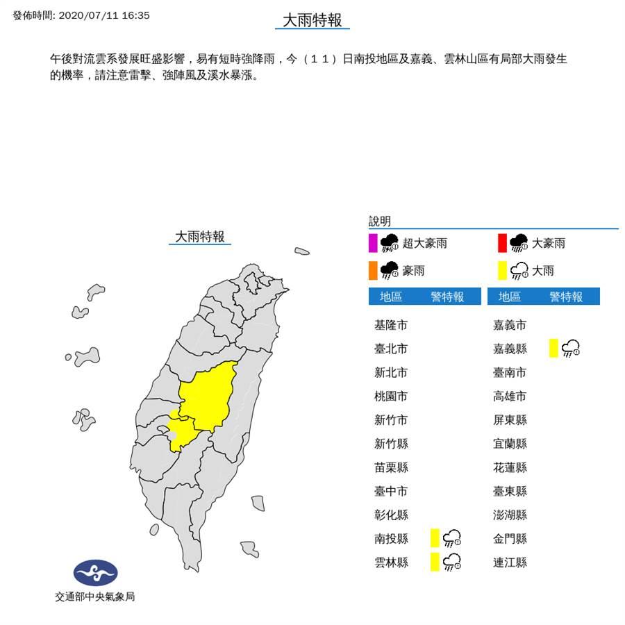 氣象局下午對3縣市發布大雨特報。(圖擷自氣象局)