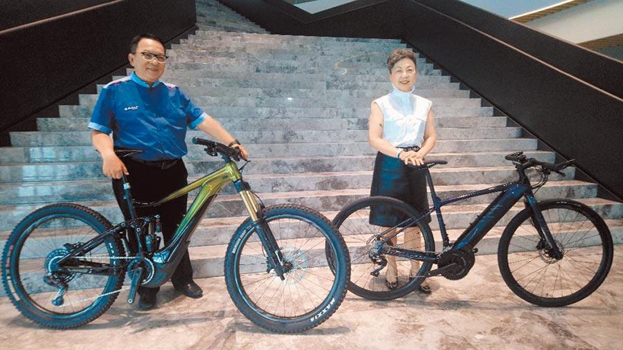 巨大集團董事長杜綉珍(右)與執行長劉湧昌(左),上半年繳出漂亮的成績單。圖/曾麗芳