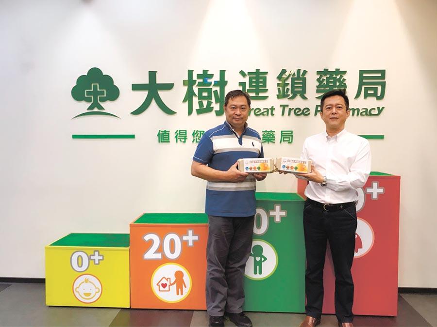 寶奇生技董事長黃志博(左)與大樹連鎖藥局代表合影。  圖/寶奇生技提供
