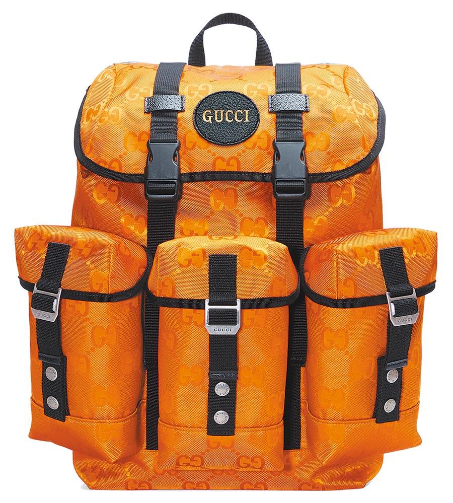 GUCCI Off The Grid系列多功能亮橘小型後背包6萬8900元。(GUCCI提供)