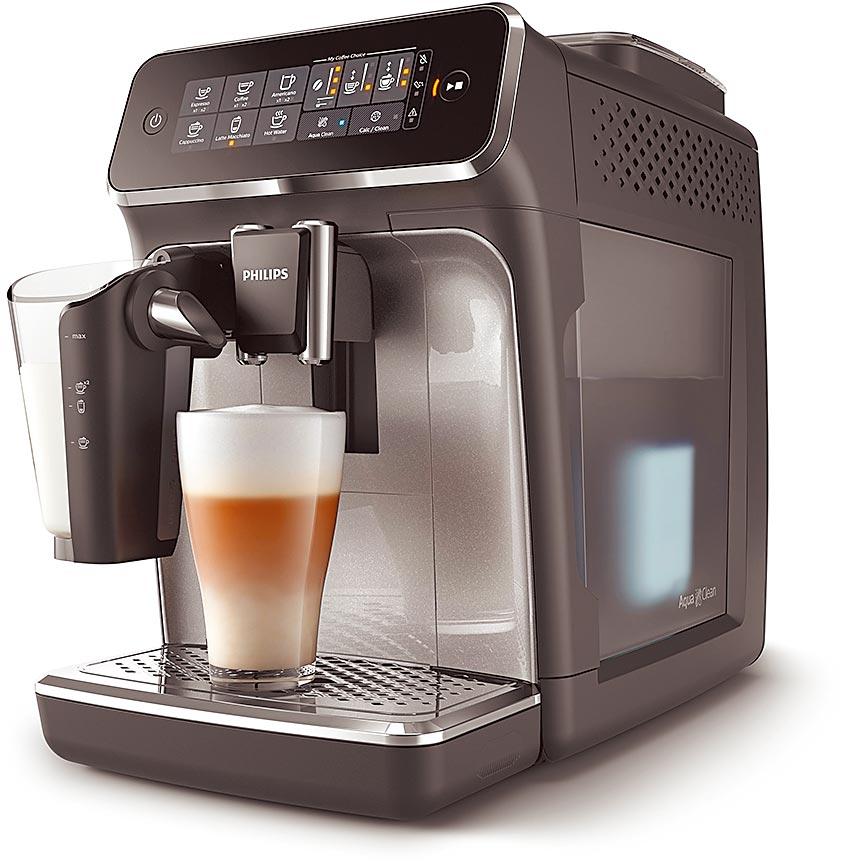 新光三越PHILIPS Latte Go全自動義式咖啡機EP3246/74,原價4萬5900元、特價3萬4900元,76折,20日前刷12家銀行全館滿3000送300。(新光三越提供)